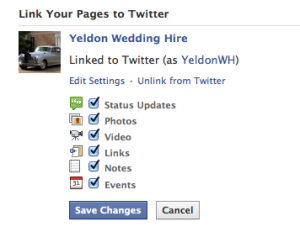 Facebook twitter settings
